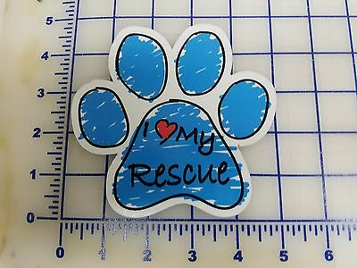 Blue Scribble Dog Paw Decal - Sticker - I love my Rescue