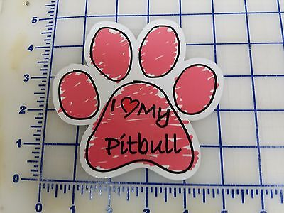 Pink Scribble Dog Paw Decal - Sticker - I love my Pitbull