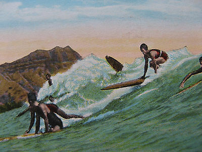 1920s MATSON LINES HAWAII SURFING WAIKIKI Postcard SS WILHELMINA VINTAGE/UNUSED