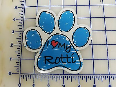 Blue Scribble Dog Paw Decal - Sticker - I love my Rotti Rottweiler