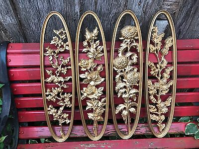 Set Of 4 Vintage Homco/home Interior Oblong Gold Resin Floral Wall Plaques