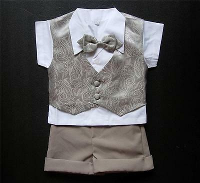 Shiny Brown Paisley BABY BOY OUTFIT Special Occasion Suit Formal Wear Wedding