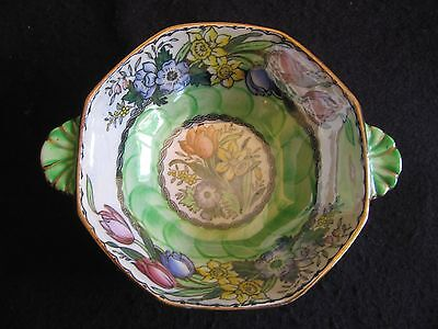 VINTAGE MALING HAND-PAINTED 'PEONY ROSE' POSY BOWL in AERO GREEN  #6524 c.1955