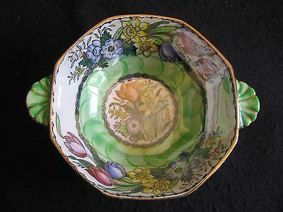 VINTAGE MALING HAND-PAINTED 'PEONY ROSE' POSY BOWL in AERO GREEN  #6524 LT A/F
