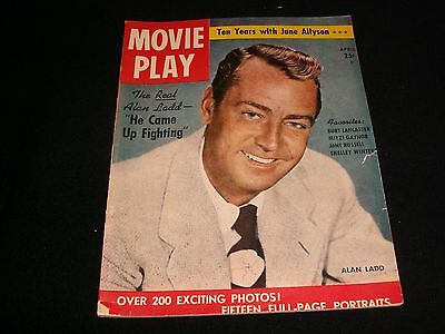Movie Play° Rare  Vintage Magazine<>April 1952<>Cover; Alan Ladd