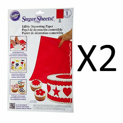 "Wilton Red Flexible Sugar Sheet Edible Cake Decorating Paper 1 8"" X 11"" (2-Pack)"