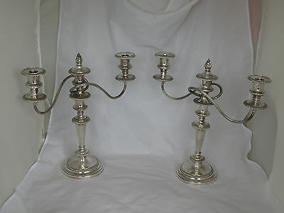 Pair of Large Antique Sheffield Silver on Copper Candelabras