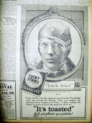1928 newspaper w Large AD - Aviator AMELIA EARHART for LUCKY STRIKE Cigarettes