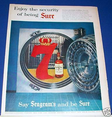 1955 Seagram's 7 Crown Whiskey BANK VAULT security Ad