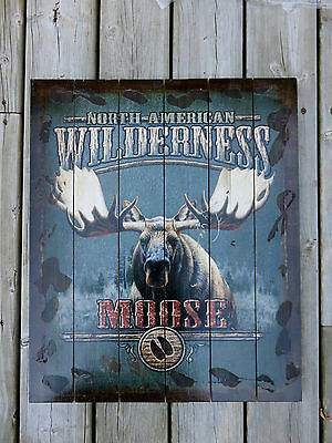 Moose Hunting Wood Wall Decor  Country Cabin North American Wilderness New