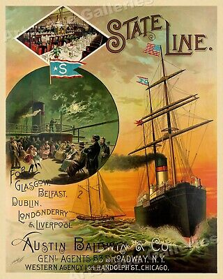1880s Steamship to Europe Vintage Style Steamship Travel Poster - 20x24