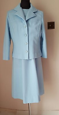 Quality Original True Vintage Blue Dress & Jacket Suit 1960s Size approx 12-14