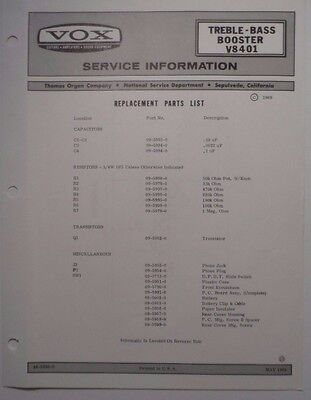 Original VOX Treble-Bass Booster V8401 - Service Information Sheet