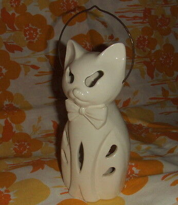 Vintage Lego Japan White Ceramic Halloween Cat Lantern Candle Holder With Handle