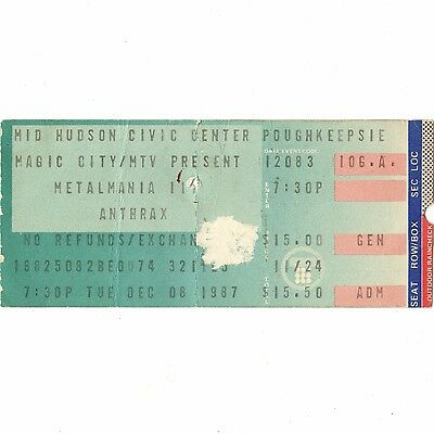 ANTHRAX & EXODUS & CELTIC FROST Concert Ticket Stub 12/8/87 POUGHKEEPSIE NY Rare