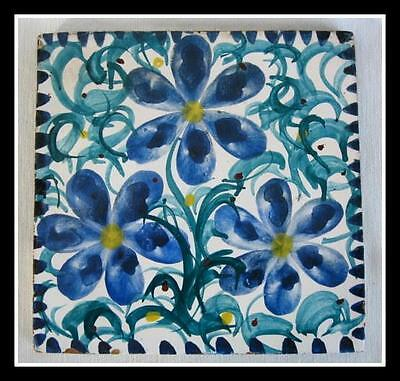 Vintage Mexican Hand Painted Tile Red Ware Pottery Blue Flower