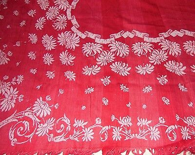 Antique Tablecloth Turkey Red Damask Jacquard Cloth Reversible
