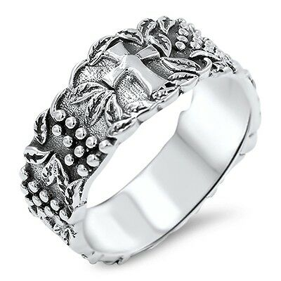 Antique Cross Band .925 Sterling Silver Ring Sizes 6-11