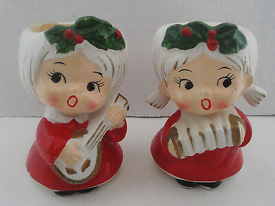 Vintage Lefton Christmas Lady Musicians Candle Holders 3 Inches