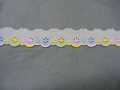 Broderie Anglaise Flat Lace  (3114) - Multi Lemon x 20 mts