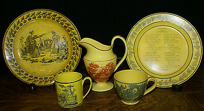 5 Canary Yellow Ware Piece Lot * 2 Plates Pitcher Napoleanic Cup and Mug  1820's