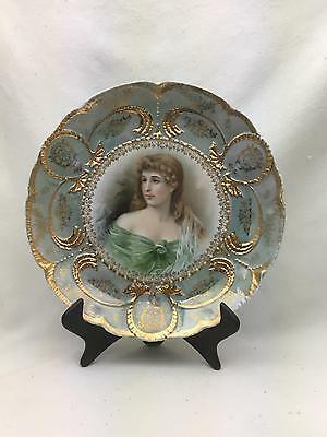 * Gorgeous Antique Hand Painted Portrait Plate L.R.L. Limoges France Numbered