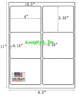 "3000 Shipping Address / Amazon FBA Labels / 6 Per Sheet 6UP 4""x3.33"" 500 Sheets"