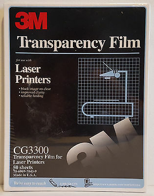 """3M Transparency Film CG3300 for Laser Printers 50 Sheets Sealed 8 1/2 X 11"""""""