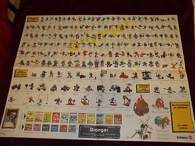 RARE Original 80s Vintage Collectible SMURFS Figurine LOT~ DEALER POSTER Granger