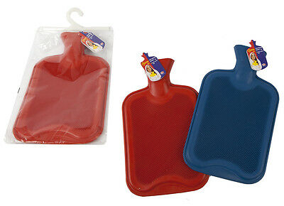 2L Litre Ribbed Rubber Hot Water Bottle Travel -Colours May Vary