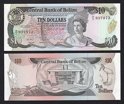 Belize $10 Dollars (1987) P48a P/5 937973 Queen - UNC