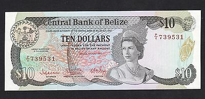 Belize 10 Dollars (1983) P44 P/4 739531 Queen Banknote UNC