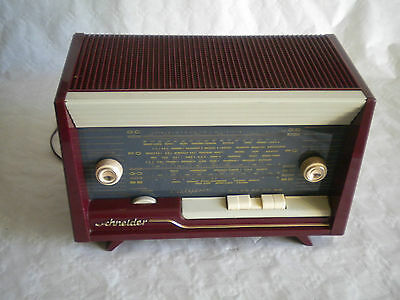 Vintage French Valve Radio Schneider Calypso designer Table top model 1950s