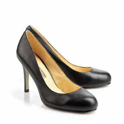 Buffalo Damen Highheel Pumps runde Form Leder schwarz Neu 107-2984