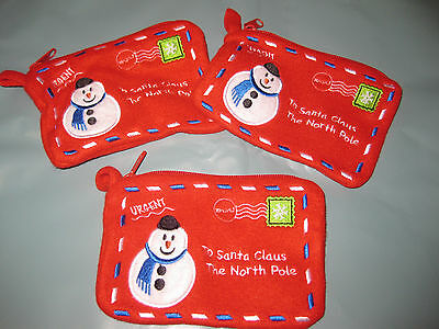 6 - 12 -25 Small Fabric Embroided Letter Bag Santa Christmas North Pole Zip