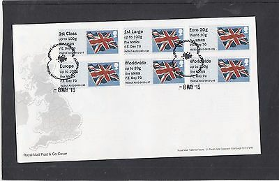 GB 2015 Post & Go Frama ATM Union Flag NMRN VE Day 70 FDC Alrewas pictorial pmk