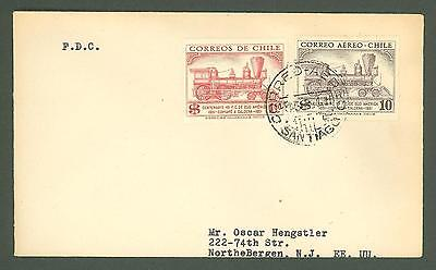 JAR X16 Chile 1951 FDC addressed 2v Railroad Railway Steam Locomotive