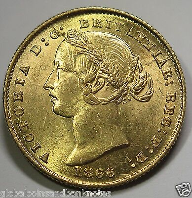 Australian 1866 Sydney Mint Queen Victoria, Full Sovereign -aUNC/UNC