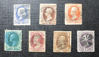 USA UNITED STATES :: 7 x PRESIDENTS ISSUE OF 1870s :: SG Types 31-37