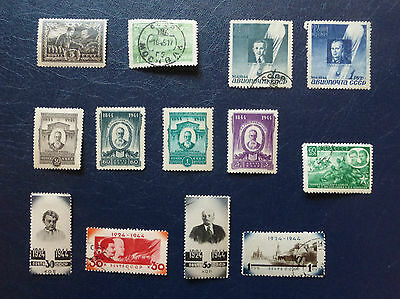 13 x STAMPS OF SOVIET RUSSIA from WWII 1941-1945