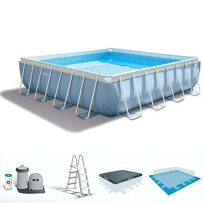 INTEX 28766 - Piscina 'Prisma Metal Frame' Quadrata 488x132 cm