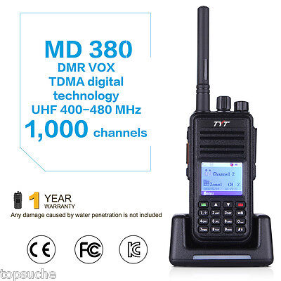 TYT MD-380 DMR 7KM Digital Walkie Talkie 1000CH Two Way Mobile Radio UHF + Cable