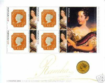 PORTUGAL S/S LUBRATEX 2003 5 stamps D. MARIA II  MNH