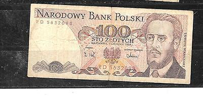POLAND #143e 1988 VG USED 100 ZLOTYCH OLD bill BANKNOTE PAPER MONEY CURRENCY