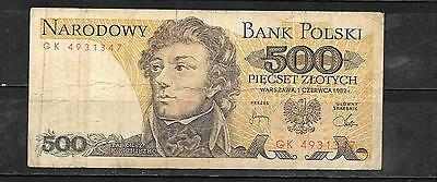POLAND #145d 1982 VG USED OLD 500 ZLOTYCH CURRENCY BANKNOTE NOTE PAPER MONEY
