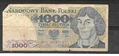 POLAND POLISH #146b 1979 GOOD USED OLD 1000 ZLOTYCH BANKNOTE  NOTE PAPER MONEY