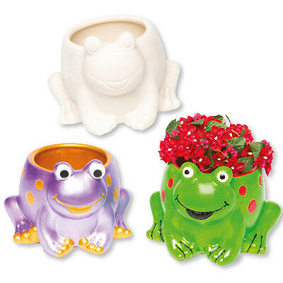 2 Frog Ceramic Plant Pots for Children to Paint Decorate Creative Kids Craft Set