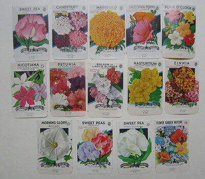 Lot of 14 Old Vintage 1950's - 1970's - FLOWER  - SEED PACKETS - EMPTY