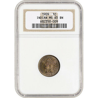 1909 US Indian Head Cent 1C - NGC MS65 BN