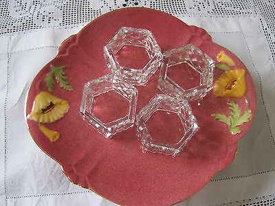 Four Matching Vintage Diamond Cut Crystal Napkin Rings